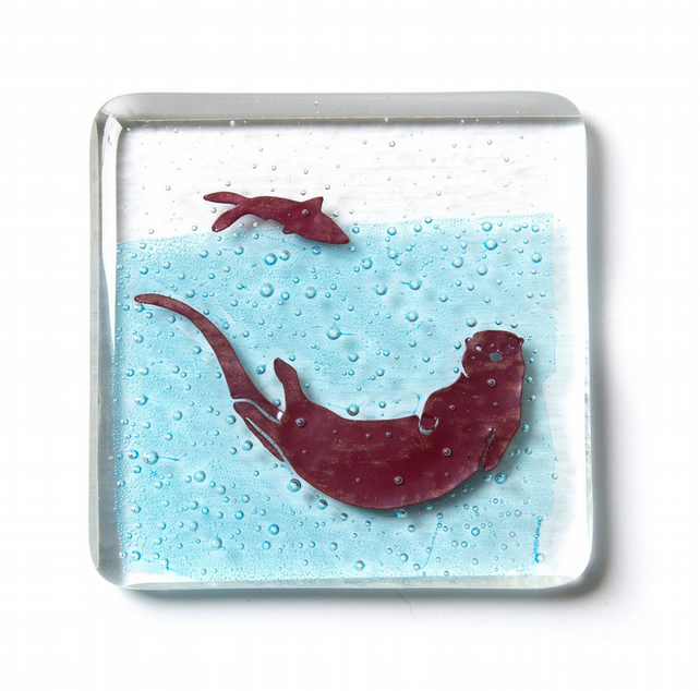Playful Otter fused glass drinks coaster, nature lover gift, wildlife