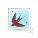 Swallow Fused Glass Coaster, drinks mat, gift for nature lover, ornithologist