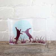 Boxing Hares Fused Glass Wave, home decor, british countryside,