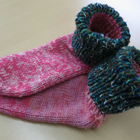 Slipper Socks 7 - 9 Pink Strawberry