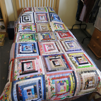 Log Cabin Single Bed Patchwork Throw