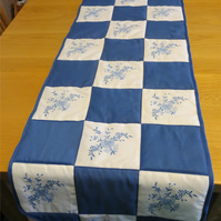 Blue and White Embroidered Table Runner