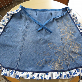 Denim Frilly Pinnie