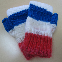 Fingerless Mitts Red White and Blue