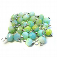 Pastel Crystal Glass Bead Charms, Set of 10 Pre-wired Dangle Beads