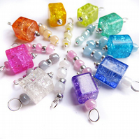 Set of 18 Pre-wired Crackle Glass Dangle Beads