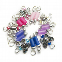 Pre-wired Bead Charms - Flutterby - Set of 12 Pre-wired Dangle Beads