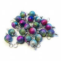 Peacock Stardust Bead Charms, Set of 10 Pre-wired Dangle Beads