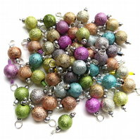 Pre-Wired Glittery Charms, Set of 10 beaded charms, Mixed colours
