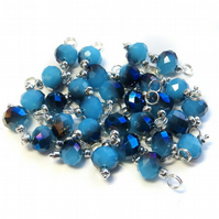 Set of 10 Pre-wired Dangle Beads  - Blue Crystal Glass Bead Charms