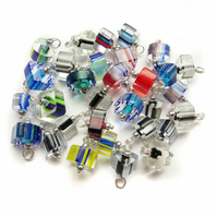 Set of 16 Pre-wired Dangle Beads for DIY Charm Bracelet - colourful glass canes