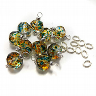 Set of 10 Dangle Beads, Spray painted Crystal Glass Bead Charms