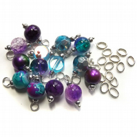 Set of 14 Pre-wired Dangle Beads -Crystal Cove- Mixed bead charms