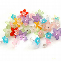 Lucite Flower Dangles, Set of 15 Pre-wired Dangle Beads, Mixed bead charms