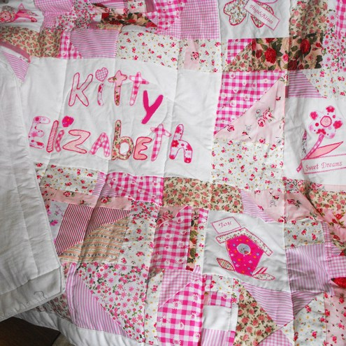 Custom Made Personalized Baby Girl Patchwork Quilt Folksy