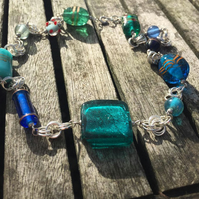 Blue glass bead and silver chainmaille necklace