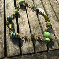 Green glass bead and chainmaille necklace