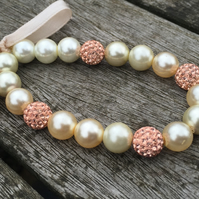 Pearls and champagne shamballa bracelet