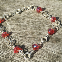 Red Swarovski and silver plated chainmalle bracelet