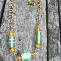 Gold and green glass chainmaille necklace
