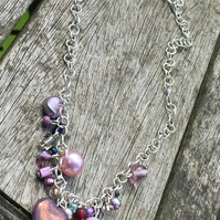 Swarovski glass pink and purple necklace