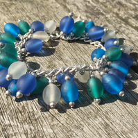 Frost Blue, White and Green Glass Bracelet