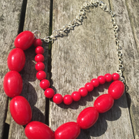 Two layer red beaded necklace