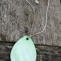 Green shell on sterling silver chain