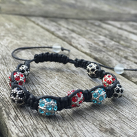 Black, red and blue metal shamballa bracelet