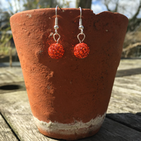 Orange shamballa earrings
