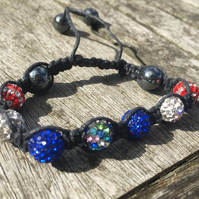 Multi, Blue, Red and White Shamballa bracelet
