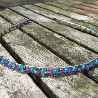 Sky blue and purple beaded alice band