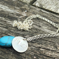 Sterling Silver personalised necklace with semi-precious birthstone bead