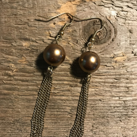 Bronze glass pearl bead with gold tassel earrings