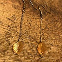 Glass gold leaf earrings