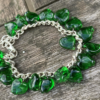 Green heart apple glass bracelet