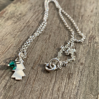 Sterling silver Christmas tree pendant with emerald crystal bead