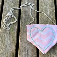 Pink and white fabric with mint embroidered heart necklace