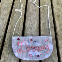 Dreams cloud fabric necklace with Swarovski crystals