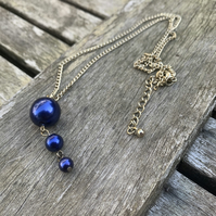 Navy glass pearl necklace