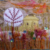 Moon Tree Cottage : Framed Embroidery