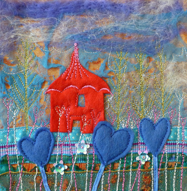 Love in Blue : Framed Embroidery