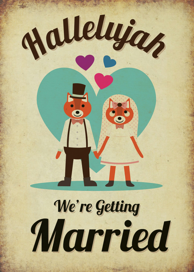 Foxes Themed Vintage Retro Style Wedding Invitation