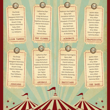 Funfair Circus themed Seating Plan Vintage Retro Style Wedding