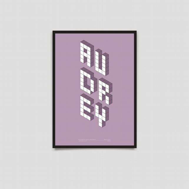 Baby Name Poster - Block Series - A3 Purple