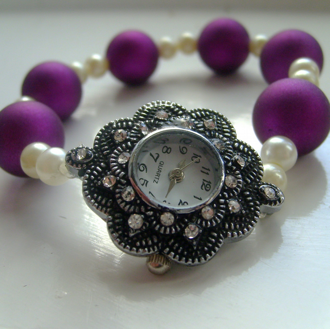Pink and Pearl Jewelled Watch
