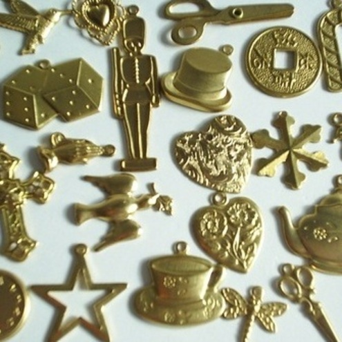 Reduced!! 23 Gold coloured Charms Mixture - All Different