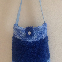 Blue Knitted Shoulder Bag