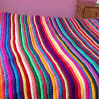 Multi Coloured Crochet Afghan Blanket Throw