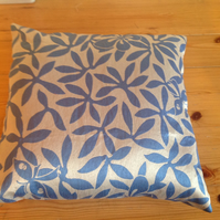 Blue and Silver Cushion with Butterflies and Leaves